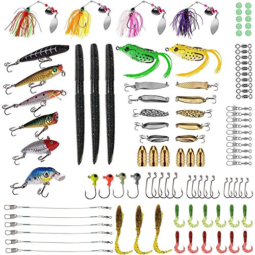PLUSINNO Fishing Lures Baits Tackle including Crankbaits, Spinnerbaits, Plastic worms, Jigs,...