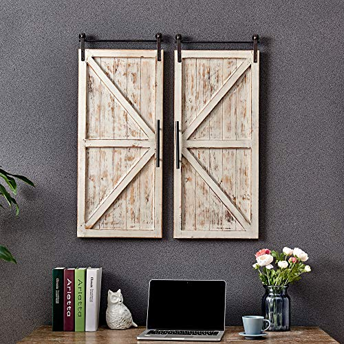 FirsTime & Co. Carriage House Barn Door Wall Plaque Set, 34'L x...