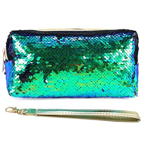 Uniuooi - Trousse per cosmetici motivo sirena con glitter, a spirale, reversibile, con lustrini, per...