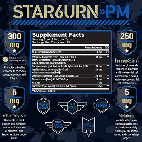 T6 STAR6URN-PM – Fat Burner and Sleep Aid for Muscle-Preserving Weight Loss and Stress Relief, Green Coffee Bean and Garcinia Cambogia Extract, 50 veggie caps 4