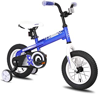 JOYSTAR Kids Bike with Training Wheels for Girls and Boys 12 14 16 Inch (Red Orange Blue Silver)
