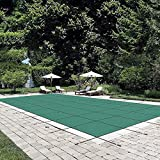 Happybuy Pool Safety Cover Fits 18x36ft Rectangle Inground Safety Pool Cover Green Mesh Solid Pool Safety Cover for Swimming Pool Winter Safety Cover