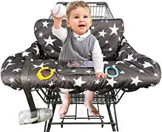 "Shopping Cart Cover for Baby, 100% Cotton Sitting Area, with Bottle Strap and 6.5"".."