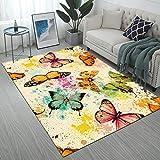 Ormis Colorful Butterflies Print Area Rug,Modern Flannel Microfiber Non-Slip Floor Mat Carpet,5'x7