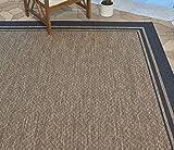 Gertmenian 21359 Nautical Tropical Carpet Outdoor Patio Rug, 8x10 Large, Border Black