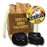 On the Naughty List Bag of Coal with On the Naughty List Button Pin Christmas Gag Gift Set (Natural)