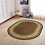 Ottomanson Home Collection Modern Area Rug, 5' x 6'6' Oval, Chocolate Brown
