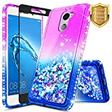 Huawei Ascend XT 2 (H1711) / Huawei Elate 4G LTE Case w/[Full Coverage Tempered Glass Screen Protector], NageBee Glitter Liquid Quicksand Flowing Sparkle Shiny Bling Diamond Cute Case -Purple/Blue