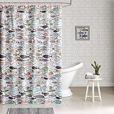 HipStyle - Sardinia - Modern Multi-color Fish - Cotton Printed - Designer Shower Curtain - 72' x 72' - Machine Washable
