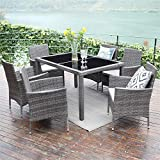 Wisteria Lane Outdoor Patio Dining Set,7 Piece Wicker Furniture Seating Conversation Rattan Chair Glass Table(Grey Wicker,Grey Cushions)