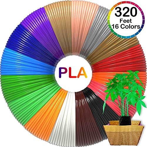 3D Pen Filament 320 Feet, 16 Colors Bonus 250 Stencils eBooks - 3D pen/3d Printer pla Filament 1.75mm for MYNT3D Tecboss diakle 3D Pen etc(Does Not Fit 3Doodler)