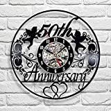 Vinyl Record Wall Clock Compatible with 50 Years Anniversary Themed Home Decor - Nursery Wall Clock 50 Years Anniversary Wall Art Decoration Gifts for Boys
