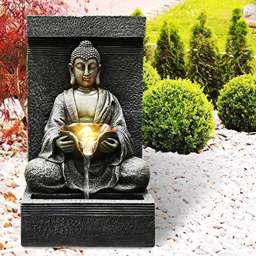 Gartenbrunnen Zen Brunnen Zierbrunnen Zimmerbrunnen Springbrunnen Brunnen 230V Wasserfall Wasserspiel für Garten, Gartenteich, Terrasse, Balkon Sehr Dekorativ (ZEN RUHE-QUELLE mit LED-Licht)