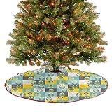 Homesonne Falda rústica para árbol de Navidad, cuadrados, con inspiraciones retro, arreglo floral, diseño abstracto, decoración de Navidad, día festivo, decoración de fiesta, multicolor, 122 cm