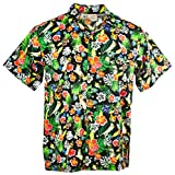 Funny Guy Mugs Mens Cat Hawaiian Print Button Down Short Sleeve Shirt, Large