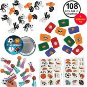 Sports Favors Party Supplies Pack Baseball Basketball Football Soccer for 12 Kids