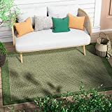 Well Woven Woden Green Indoor/Outdoor Flat-Weave Pile Solid Color Border Pattern Area Rug 6x9 (6'7' x 9'3')