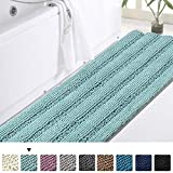 Turquoize Bathroom Runner Extra Long Bathroom Rug Blue Chenille Bath Rug Non Slip Shaggy Bath Mat Shag Shower Mat, Soft and Cozy, Super Absorbent Water, Washable Rug, 47 x 17 inches, Duckeggshell Blue