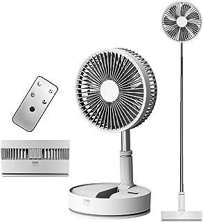 リビング携带扇風機 折りたたみ 卓上扇風機 リモコン付き 伸縮式 USB充電式超大容量 3段階風量調節 7枚羽根 折りたたみ可能 保管が簡単 持ち運びに便利 低騒音 熱中症 暑さ対策 寝室 アウトドア(7200mAh+首振り,ホワイト)