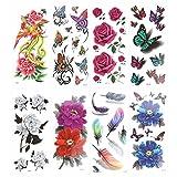 ULTNICE Tatouages éphémères Motifs Variés Papillons et Fleurs 8 Planches