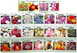 25 Flower Seed Packets Including 10+ Varieties - Forget Me Nots, Pinks, Marigolds, Zinnia, Wildflower, Poppy, Snapdragon and More
