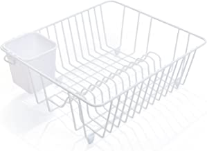 Smart Design Dish Drainer Rack w/Cutlery Cup & Plate Dividers – Steel Metal..