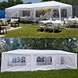10'x30' Heavy Duty Canopy Tent Outdoor Party Wedding Tent w/8 Removable Sidewalls & 2 Zipped Doors, Waterproof Camping Gazebo Storage Shelter Pavilion Cater Picnic BBQ Events Tents for Parties, White