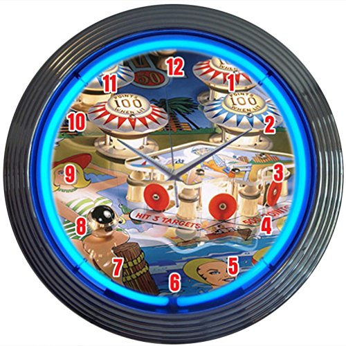 Neonetics Bar and Game Room Pinball Neon Wall Clock, 15-Inch