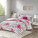 Comfort Spaces CS10-0805 Zoe Comforter Set Printed Striped Floral Design with Faux Long Fur Decorative Pillow Bedding, Twin/Twin XL, Pink