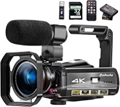 Video Camera 4K Camcorder ZOHULU Vlog Camera for YouTube, HD Digital Camera with 30X..