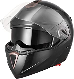 AHR RUN-M Full Face Flip up Modular Motorcycle Helmet DOT Approved Dual Visor Motocross Black M