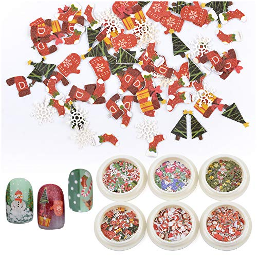 Nail Art Christmas Sequin 3D Nails Glitter Flakes Wood Chips Christmas Nail Art Stickers Decals Santa Candy Cane Gifts Socks Penguin Snowflake Bowknot Manicure Tips 6 Boxes