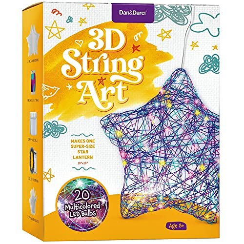 3D String Art Kit for Kids - Makes a Light-Up Star Lantern with 20 Multi-Colored LED Bulbs - Kids Gifts - Crafts for Girls and Boys Ages 8-12 - DIY Arts & Craft Kits for 8, 9, 10, 11, 12 Year Old Girl