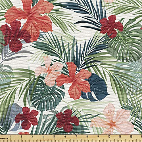 Lunarable Vintage Palm Fabric by The Yard, Pattern of Colorful Graphic Image of Endemic Island Flowers Hawaiian Theme, Decorative Fabric for Upholstery and Home Accents, 1 Yard, Ruby Green