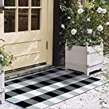 Asrug Buffalo Plaid Rugs Black and White Checkered Rug Washable Door mat Throw Rug Runner for Front Porch, Kitchen, Bathroom, Entry Way, 24'x36'