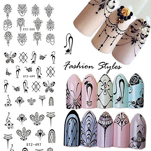 3 Patterns/6 Sheets Nail Stickers Cat Nail Decals Tattoos Black Water Transfer Nail Art Stickers Wrap Foil Sticker for Manicure