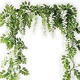 VINFUTUR 5pcs*2m Artificielle Fleurs Wisteria Vigne, Faux Glycine Fleurs...