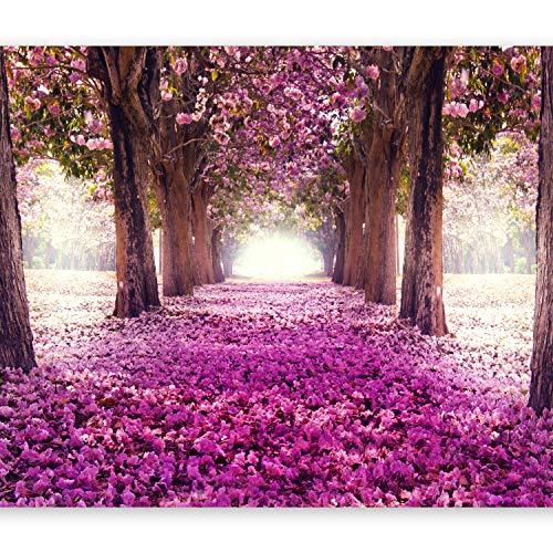 murando Fototapete Weg 350x256 cm Vlies Tapeten Wandtapete XXL Moderne Wanddeko Design Wand Dekoration Wohnzimmer Schlafzimmer Büro Flur Blumen Bäume c-A-0031-a-d
