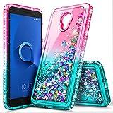 Alcatel IdealXcite Case (5044R), Verso/Raven LTE (A574BL) /CameoX (4G LTE) for Girls Kids Women, NageBee Glitter Liquid Sparkle Bling Floating Waterfall Cute Case -Pink/Aqua