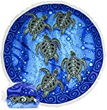 Dawhud Direct Microfiber Round Large Plush Beach Towel Blanket, 60' D with Fringe (Tribal Sea Turtles)
