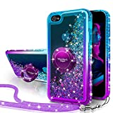 iPhone 4S Case,iPhone 4 Case, Silverback Moving Liquid Holographic Sparkle Glitter Case with Kickstand, Bling Diamond Bumper with Ring Protective Apple iPhone 4S Case for Girls Women -Purple
