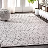 JONATHAN Y MOH101B-8 Moroccan HYPE Boho Vintage Diamond Cream/Gray 8 ft. x 10 ft. Area Rug, Bohemian, Easy Cleaning, For Bedroom, Kitchen, Living Room, Non Shedding