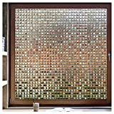 rabbitgoo Decorative Window Film, Privacy Window Clings, Rainbow Window Decals, Stained Glass Window Sticker, Door Window Covering, Removable Non Adhesive UV Blocking Static Cling, Brown Mosaic