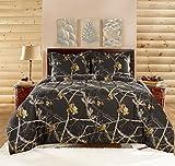 Realtree Comforter Set, Queen, Bright Black