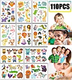 110PCS Adorable Zoo Animal Tattoos Temporary for Kids - Jungle Safari Baby Shower/Birthday Party Favors Supplies Goodie Bag Stuffers (10 Sheets)