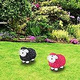 Relaxdays Gartenfigur Schaf, Tierfigur, frostsicher, wetterfest, handbemalte Gartendeko, innen & außen, Keramik, schwarz - 3