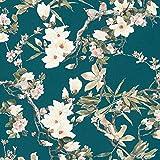 Papier peint bleu canard | Papier peint fleur de cerisier 36498-4 | Papier peint japonais fleurs oiseaux | Papier peint tendance chambre adulte