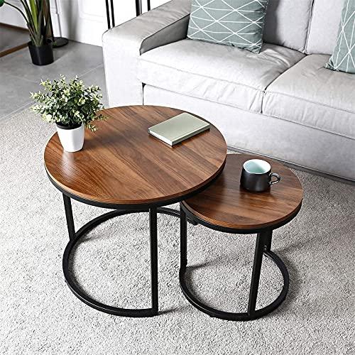 Table Basse,Set de 2 Table Basse, Tables basses rondes chambre à coucher, montage stable et facile, plateau en bois avec structure en métal 60,4 × 51cm 40,2 × 42,5 centimètres