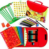Kit de Plantillas de Dibujo para Niños 55-Piezas| Divertido Conjunto de Actividades de Viaje, Estuche Organizador con más de 280 Figuras, Artesanía para Niñas y Niños