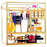 Stackable Glass Makeup Organizer Antique Countertop Vanity Cosmetic Storage Box Mirror Glass Beauty Display, Large Capacity Holder for Brushes Lipsticks Skincare Toner with free Pearl (Gold)